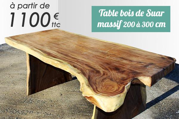 Table en bois de Suar de 200 à 300 cm