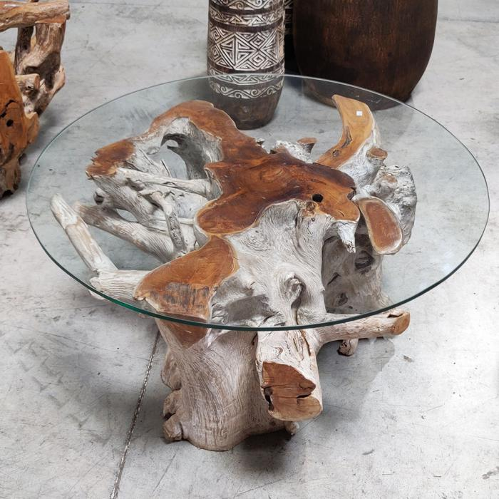 Table basse carre racine Teck verre ales gard