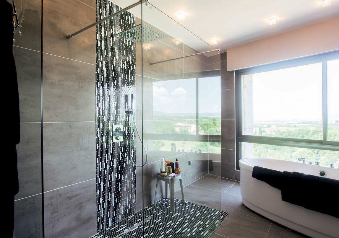 Mercier carrelages rev tements fa ence salles de bains - Carrelage noir brillant salle de bain ...